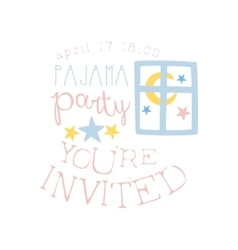 Girly Pajama Party Invitation Card Template With vector