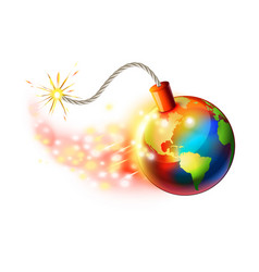 Global warming concept planet on fire vector