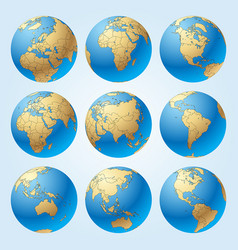 Globe set with borders of countries vector