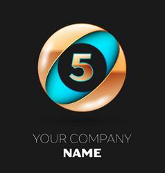 golden number five logo in blue-golden circle vector image
