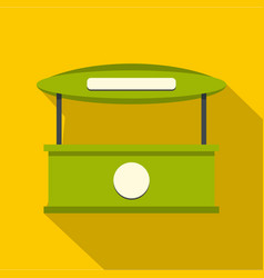 Green tent shop icon flat style vector