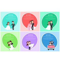 groom and bride romantic postcard wedding vector image