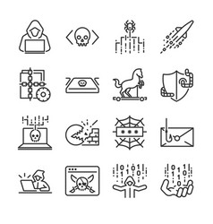 Hacker icon set vector