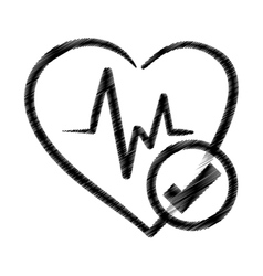 hand drawing heart rate ok health vector image