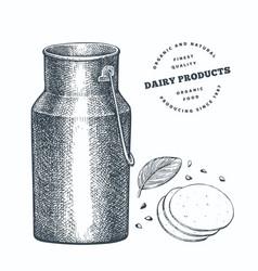 Hand drawn sketch style milk metal jug organic vector