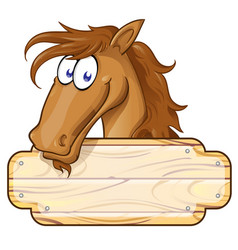 happy cartoon horse mascot with a blank sign vector image