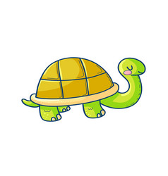 happy cartoon turtle on white background vector image