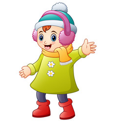 happy girl in winter clothes wearing headphone vector image