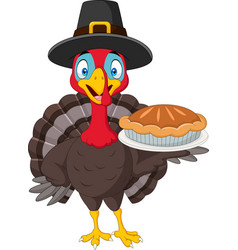 Happy thanksgiving card with turkey holding pie vector