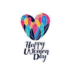 happy women day logo creative template vector image