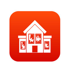 House with broken windows icon digital red vector