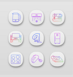 household appliance app icons set vector image