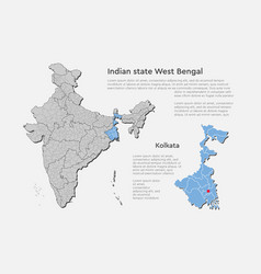 India country map west bengal state template vector