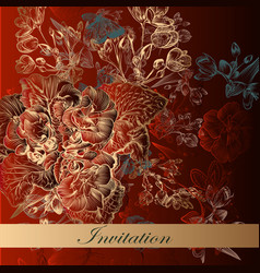 Invitation card in red color with flowers vector