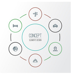 Journey outline icons set collection of bedstead vector