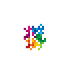 k letter mosaic pixel logo icon design vector image