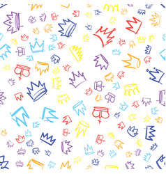 king crown sketches hand drawn seamless pattern vector image