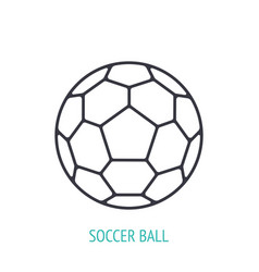 leather soccer ball outline icon sports vector image