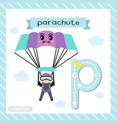 Letter p lowercase tracing parachute vector