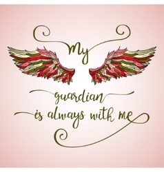 Lettering hand drawn quote with angel wings vector