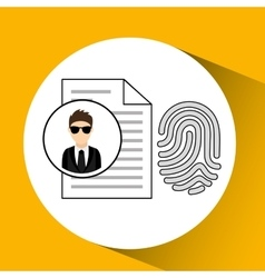 Man cartoon fingerprint file digital technology vector