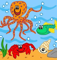 Marine life cartoon characters vector image