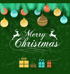 merry christmas on green background with deer vector image
