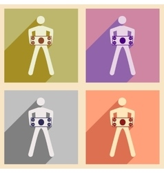 Modern collection flat icons with shadow people vector