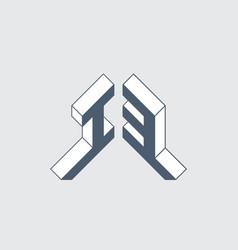 Number 13 i3 - logo or 2-letter code isometric 3d vector