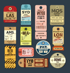 old vintage luggage tag baggage checks or ticket vector image