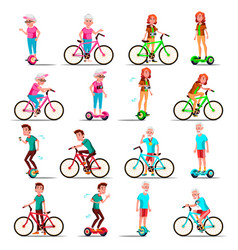 People riding hoverboard bicycle city vector