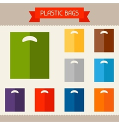 Plastic bags colored templates for your design in vector