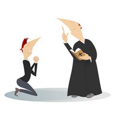Priest and prayer man in kneels vector