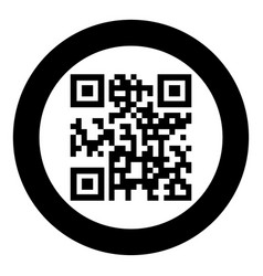 Qr code icon black color in circle or round vector
