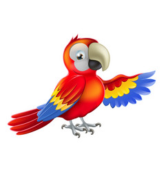 red pointing cartoon parrot vector image