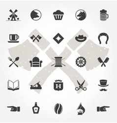 Retro Hand Drawn Objects and Icons vector image