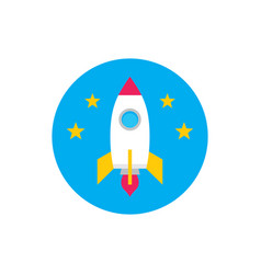 rocket starship - concept colored icon in flat vector image