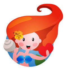 round sticker with cute red-haired girl with vector image vector image