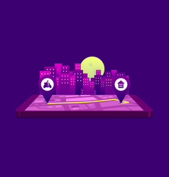 Route motorbike for food delivery at night vector