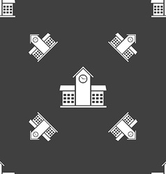 School Professional Icon sign Seamless pattern on vector