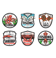 Seafood and fish with fishing rods and net icons vector