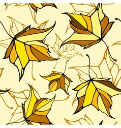 Seamless pattern with stylized falling leaves vector image