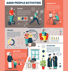 Seniors stay active infographics vector