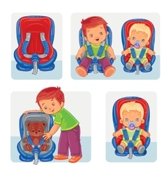 Set icons of small children in car seats vector