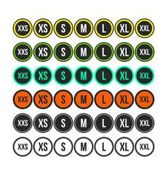 Set labels gradation clothing size vector