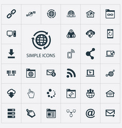 Set of simple browser icons vector