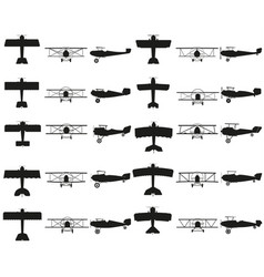 set planes black icon on white vector image