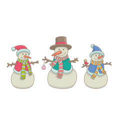 set snowmen vector image