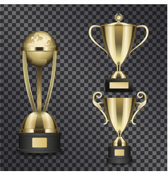 shiny gold trophy cups isolated set vector image