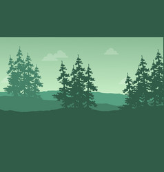 Silhouette of spruce on the hill vector